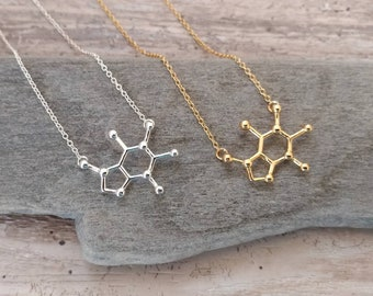 Caffeine Molecule Necklace, MOQ 3