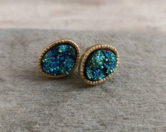 Off Set Oval Druzy Earrings, GDE-2
