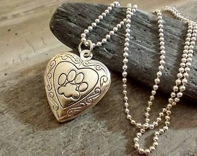 Paw Print Locket, Heart Paw Print Necklace, Silver Paw Print Necklace, Gift for Girl
