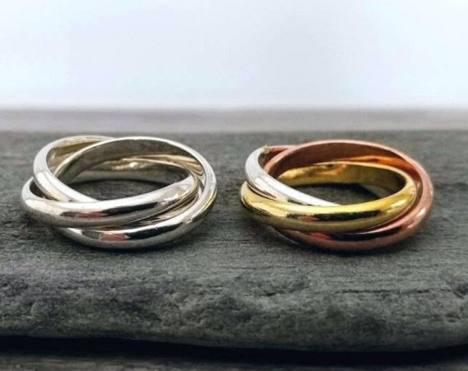 Silver Interlocking Ring, Multi Colored Interlocking Ring,  Available in Sizes 6-9
