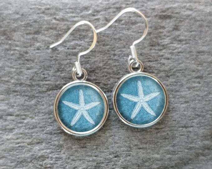 Denim Shell Earrings, Handmade, Multiple Images, 12  Settings Available, DENIM-E-Please call for wholesale prices