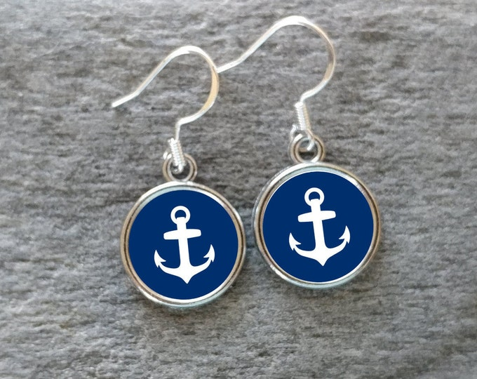 Colorful Anchor Earrings, Handmade, Multiple Images, 12  Settings Available,ANCH-E-Please call for wholesale prices