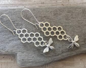 Silver Honeycomb Statement Earrings, Gold Honeycomb Earrings, Adorable Vintage Bee Earrings