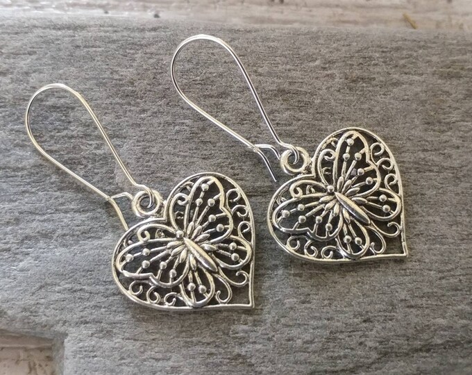 Butterfly Heart Earrings, EAR-21-Please call for wholesale pricing
