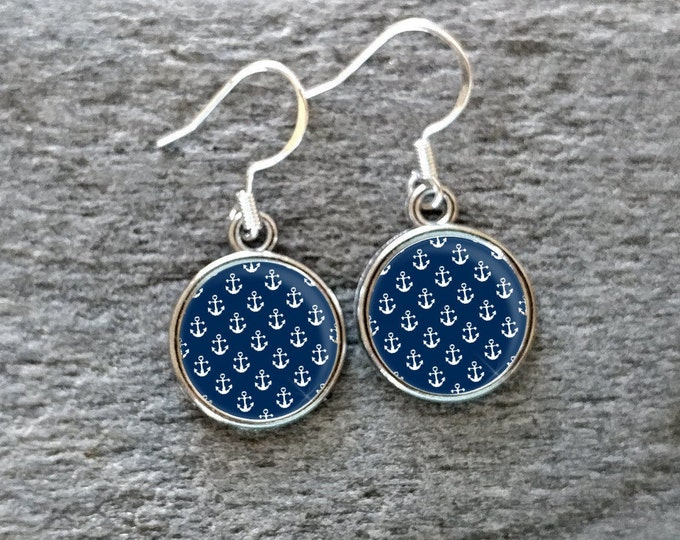 Nautical Pattern Earrings, Handmade, Multiple Images, 12  Settings Available, NP-E-Please call for wholesale prices
