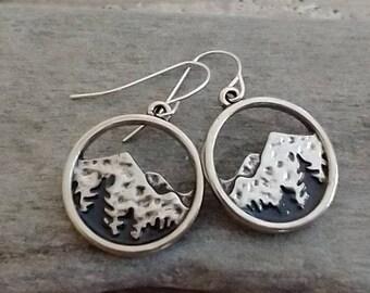 Minamalist Mountain Earrings, Silver Dangle Earrings, Silver Nature Earrings, Wanderlust Earrings