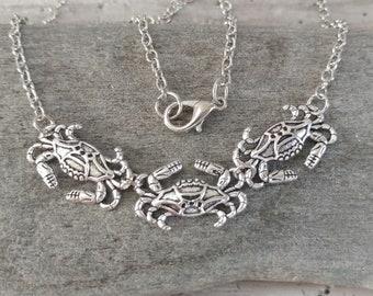 Adorable Crab Choker, Silver Crab Necklace, Maryland Crab Necklace, Minimalist Crab Necklace