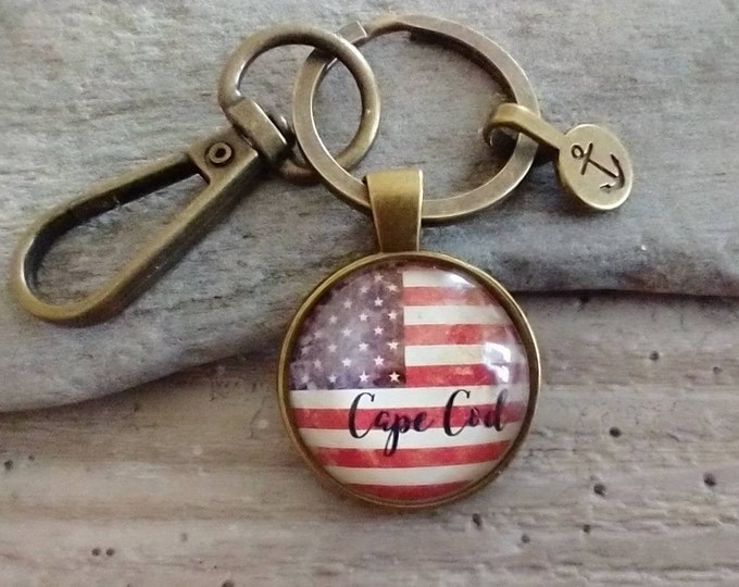 Vintage Flag Keychain, Plain or Customize with Location, List Price Reflects MSRP