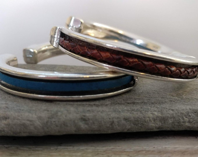 Leather Spring Channel Cuff, Handmade, LB-26- Please call for wholesale pricing