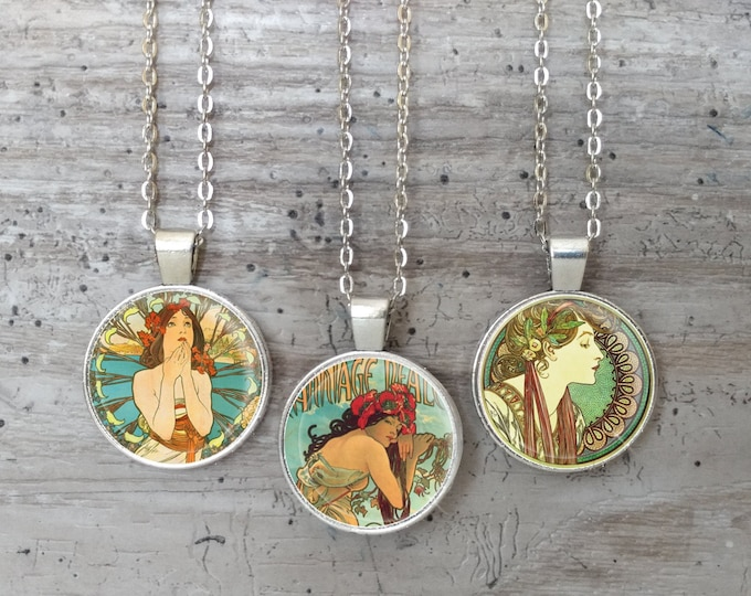Mucha & Clocks Necklace, Silver or Bronze, Handmade In Maine