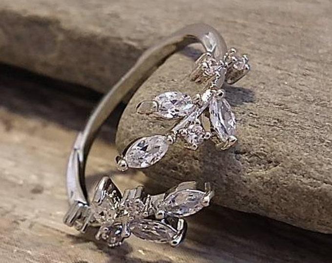 Delicate Diamond Laurel Leaf Ring, Silver Leaf Ring, Diamond Leaf Ring, Open Leaf Ring, Olive Branch Ring