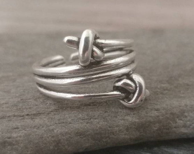 Double Knot Ring, Silver Knot Ring, Minimalist Knot Ring