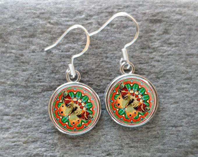 Mandala Butterfly Earrings, Handmade, Multiple Images, 12  Settings Available, MBF-E