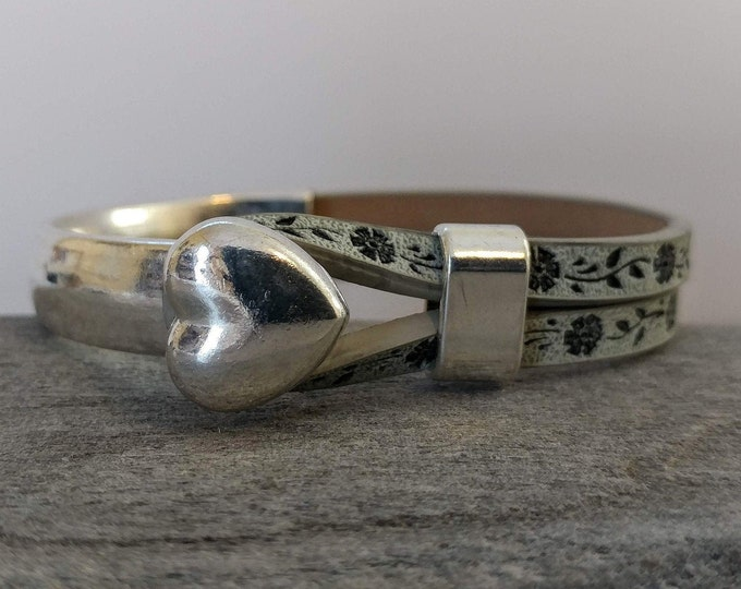 Heart Cuff Wrap Bracelet, Handmade, Vegan, LB-31- Please call for wholesale pricing