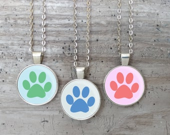 Paw Print Necklace, Silver or Bronze, Handmade In Maine