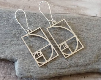Silver Fibonacci Earrings, Minimalist Fibanacci Earrings, Square Fibonacci Earrings