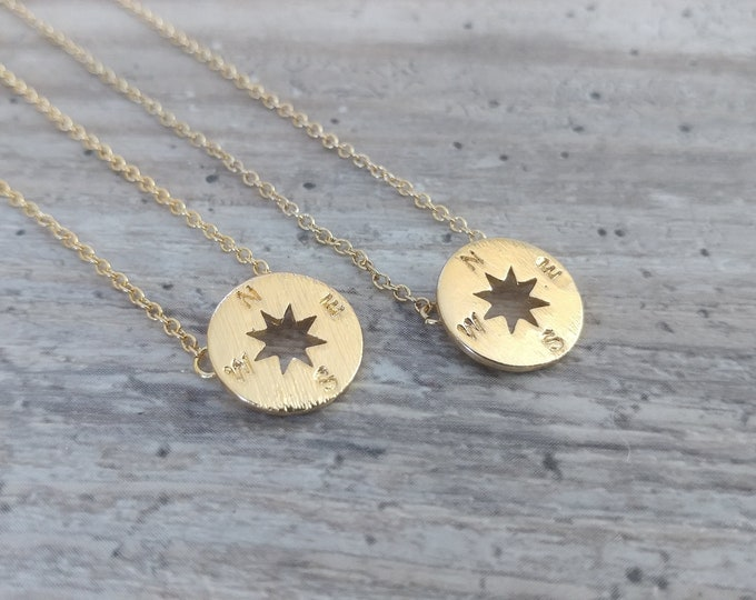 Tiny Compass Necklace Necklace, MOQ 3