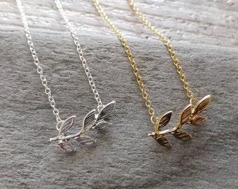 Dainty Olive Leaf Necklace, Silver Minimalist Leaf Necklace, Gold Minimalist Olive Leaf Necklace