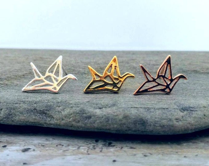 Origami Crane Studs, STUD-4-Please call for wholesale pricing