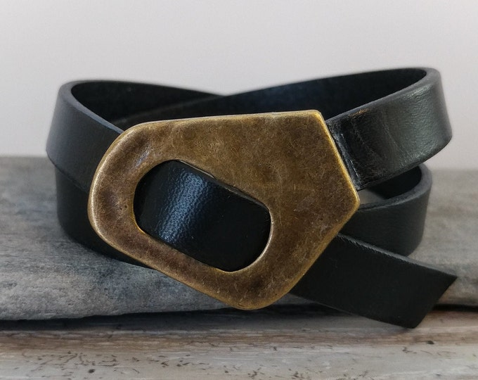 Leather Buckle Bracelet, Handmade, LB-24- Please call for wholesale pricing