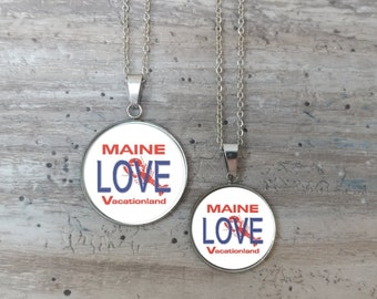Maine Love Plate Necklace, Silver or Bronze, Handmade In Maine