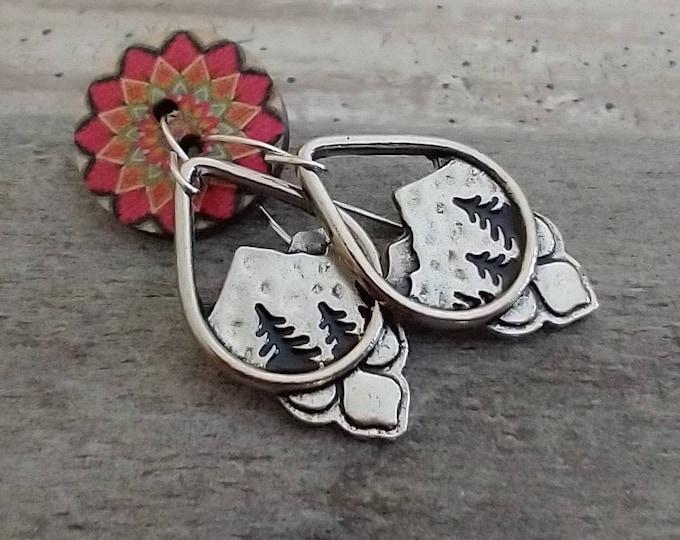 Teardrop Mountain Earrings, Silver Dangle Earrings, Silver Nature Earrings, Wanderlust Earrings