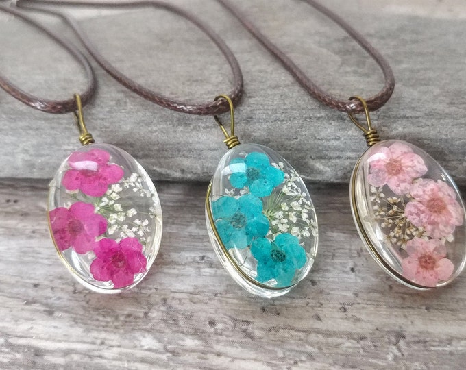 Vegan Flower Necklace, MOQ 3- Please call for wholesale pricing