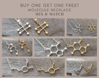 BOGO!  Molecule Necklaces,  Mix & Match  from 8 Different Molecules, Gold  and Silver