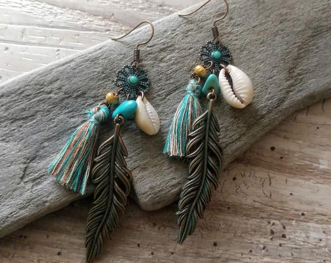 Bronze Feather & Shell Earrings, MOQ 3