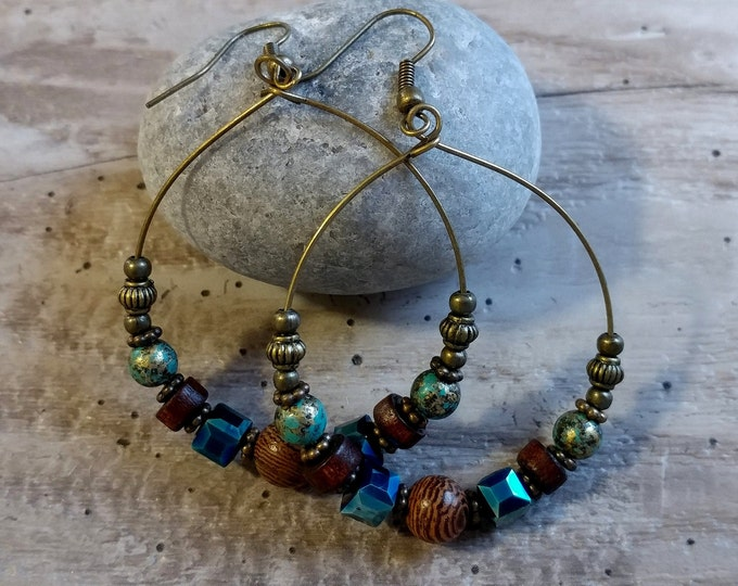 Beaded Hoop Earrings, BOHO-E1- Please call for wholesale pricing