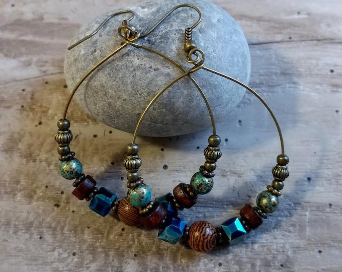 Beaded Hoop Earrings, MOQ 3