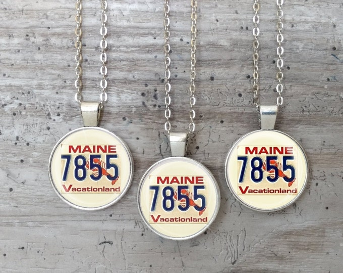 Vintage Maine Plate Necklace, Silver or Bronze, VP-N- Please call for wholesale prices