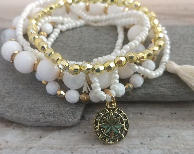 Layered Compass & Tassel  Bracelets-6 Strands, CORDB-6- Please call for wholesale pricing