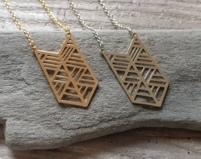 Chevron Statement Necklace, Available in Silver or Gold,