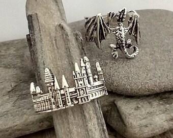 Dragon & Castle Ring Set,  Fantasy Ring Set, Dragon Ring, Castle Ring