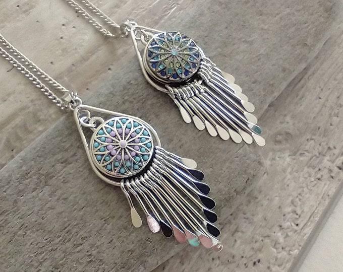 Art Deco Mandala Necklace, Interchangable Necklace, Snap Necklace,