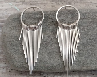 Silver Art Deco Hoop Earrings, List Prices reflect MSRP