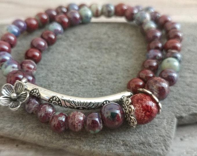 Beaded Boho Wrap Bracelet, Sunset, BEADB-3- Please call for wholesale pricing