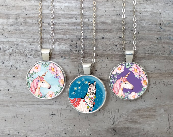 Kid's Lamma & Unicorn Necklace, Silver or Bronze,UL-N- Please call for wholesale prices