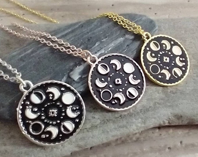 Moon Phase Necklace, Available in Silver, Gold or Rose Gold, List Prices reflect MSRP