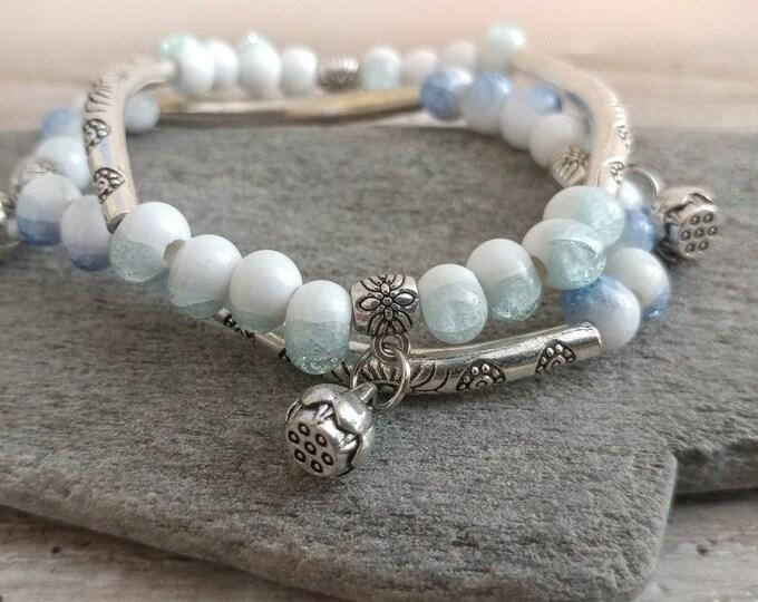 Double Boho Bracelet, Sky, BEADB-8- Please call for wholesale pricing