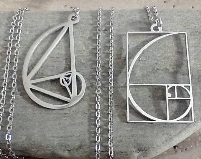 Silver Fibonacci Necklace, Golden Ratio Necklace
