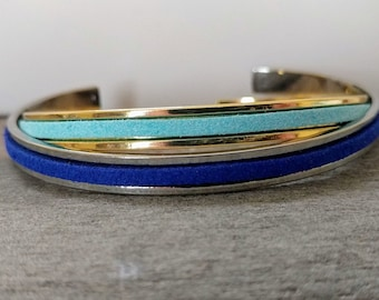 Vegan Channel Cuff Bracelet, Silver or Gold, Handmade, LB-37- Please call for wholesale pricing