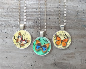 Kid's Butterfly Necklace, Silver or Bronze, OBW-N- Please call for wholesale prices