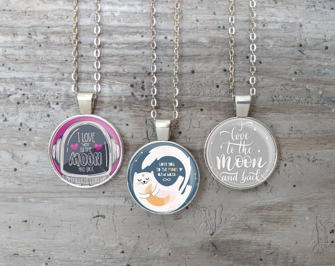 Kid's To The Moon & Back Necklace, Silver or Bronze, MAB-N- Please call for wholesale prices