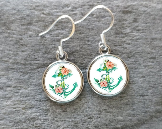 Anchor Rose Earrings, Handmade, Multiple Images, 12  Settings Available, AR-E-Please call for wholesale prices