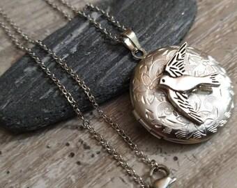 Free Bird Locket, Custom Silver Locket