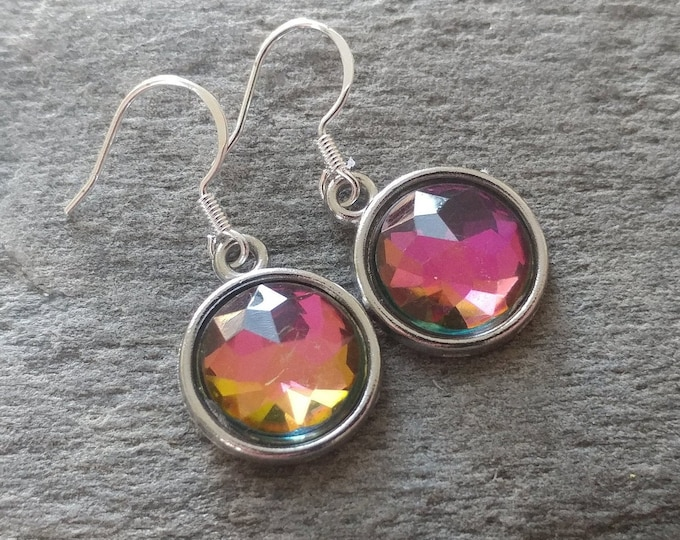 Crystal Resin Earrings, 9 Color Options, 12  Settings Available, CR-E-Please call for wholesale prices