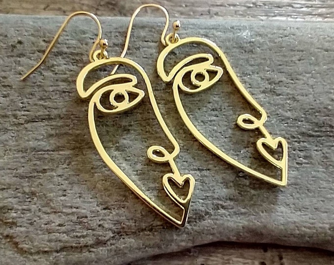 Silver or Gold Picasso Face Earrings, List Prices reflect MSRP