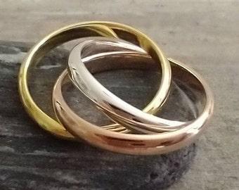 Mixed Metal Interlocking Ring, Silver Interlocking Ring,  Available in Sizes 6-9